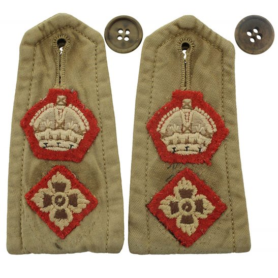 additional image for WW2 British Army Officers CLOTH Slip-On Epaulette Insignia Pips PAIR - Rank of Lieutenant Colonel