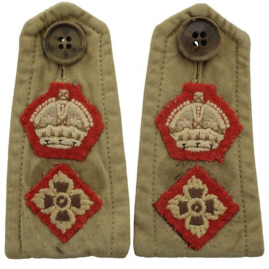 WW2 British Army Officers CLOTH Slip-On Epaulette Insignia Pips PAIR - Rank of Lieutenant Colonel