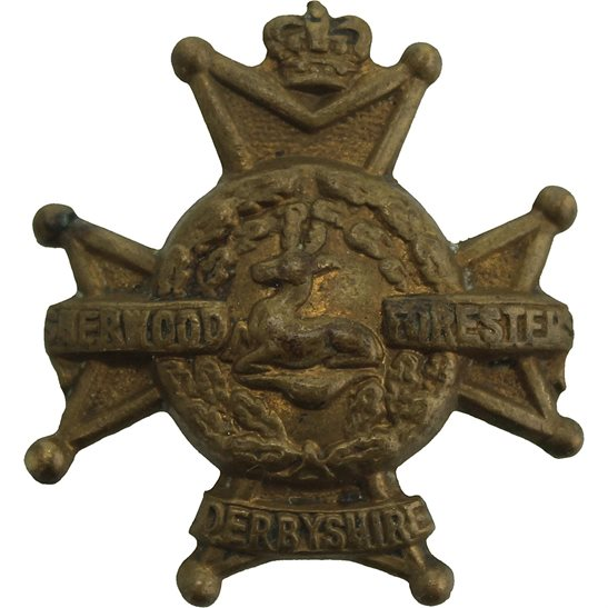 Notts and Derby VICTORIAN Notts & Derby (Sherwood Foresters) Derbyshire Regiment Collar Badge QVC