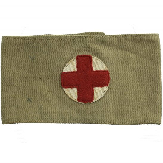 Royal Army Medical Corps RAMC WW2 Royal Army Medical Corps RAMC Red Cross Arm Band Stretcher Bearer Armband Badge