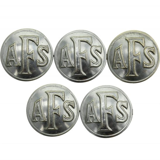 Auxiliary Fire Service WW2 Group of Auxiliary Fire Service Brigade Corps AFS Tunic x5 Buttons - 25mm