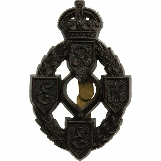 Royal Electrical & Mechanical Engineers Corps REME WW2 Royal Electrical & Mechanical Engineers Corps REME PLASTIC Economy Issue Cap Badge