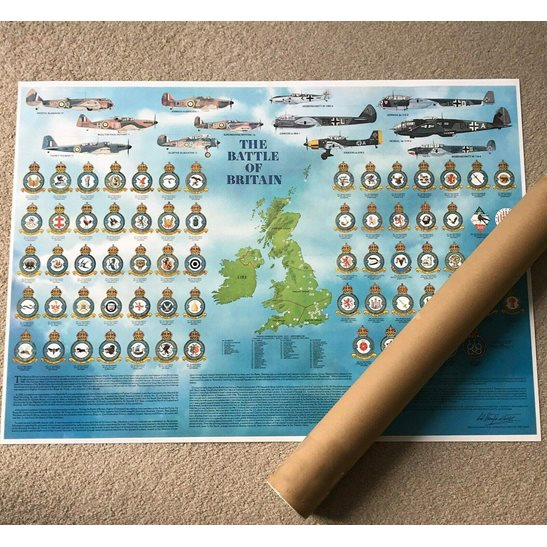Royal Air Force RAF ROLLED WW2 Battle of Britain Royal Air Force RAF Squadron Badges, Planes & Airfields Guide Poster A1