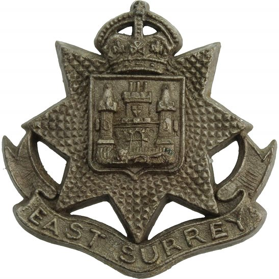 East Surrey WW2 East Surrey Regiment PLASTIC Economy Issue Cap Badge
