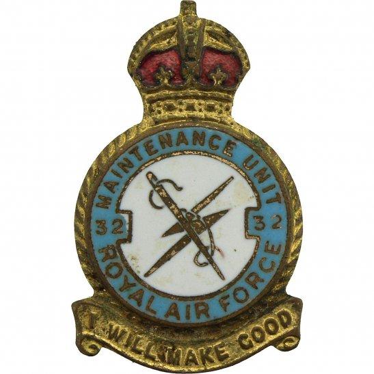 RAF Squadrons 32 Maintenance Unit Royal Air Force RAF Lapel Badge - H W MILLER LTD Makers Mark