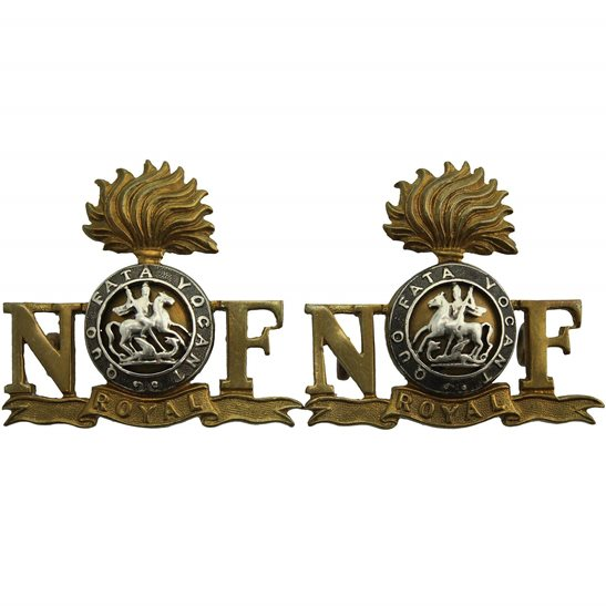 Northumberland Fusiliers WW2 Royal Northumberland Fusiliers Regiment OFFICERS Bi-Metal Shoulder Title PAIR