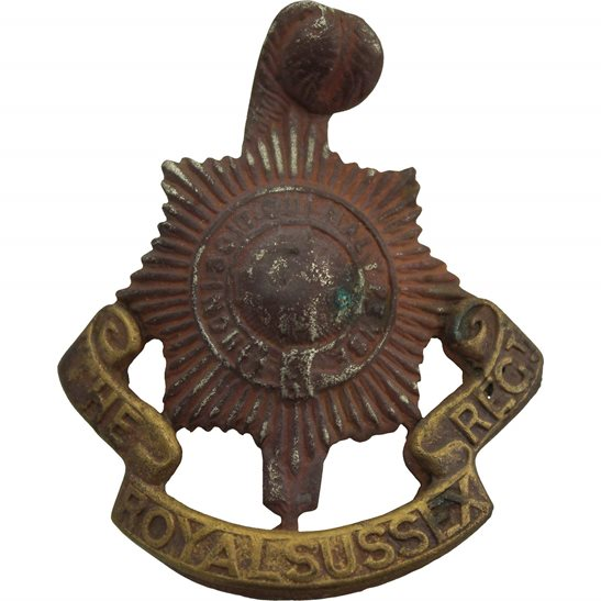Royal Sussex UK Dug Detecting Find - Royal Sussex Regiment Relic Cap Badge