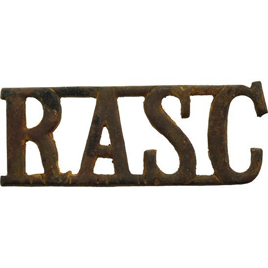 Royal Army Service Corps RASC UK Dug Detecting Find - Royal Army Service Corps RASC Relic Shoulder Title