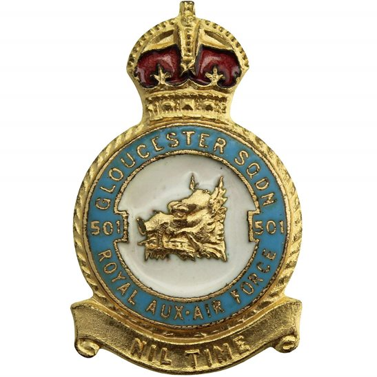 RAF Squadrons 501 Gloucester Squadron Royal Air Force RAF Lapel Badge - H W MILLER LTD Makers Mark