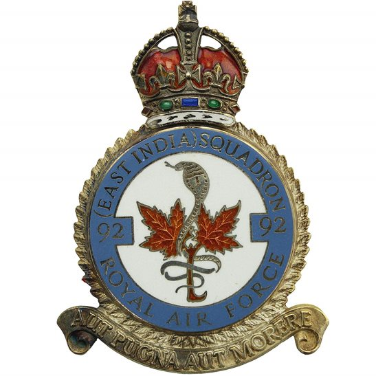 RAF Squadrons 92 East India Squadron SILVER Royal Air Force PLAQUE Badge RAF