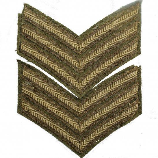 WW2 British Army Sergeants Cloth Chevron Insignia Rank Stripes PAIR