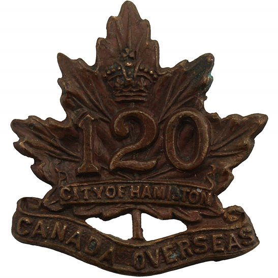 WW1 Canadian Army WW1 Canadian 120th Overseas Battalion (City of Hamilton) Canada CEF Collar Badge