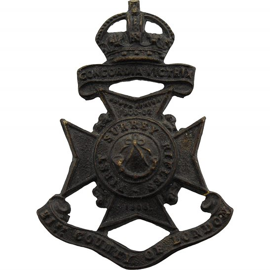 London Battalions First Surrey Rifles, 21st Battalion County of London Regiment Cap Badge