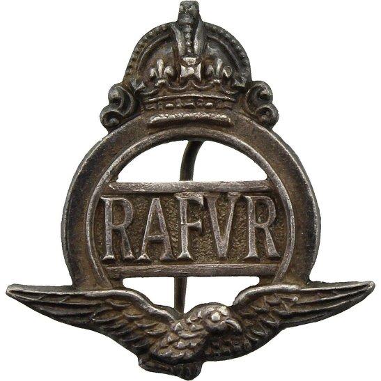 Royal Air Force RAF WW2 Royal Air Force RAF Volunteer Reserve RAFVR Silver Lapel Badge - PIN VERSION