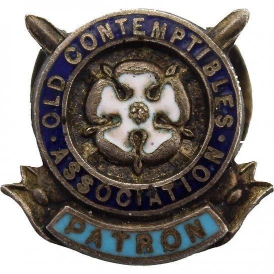 WW1 1914 Old Contemptibles Association Patron Veterans Lapel Badge