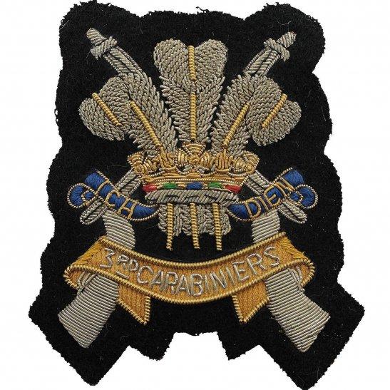 3rd Carabiniers 3rd Carabiniers Regiment Cloth Wire BULLION Veterans Blazer Badge