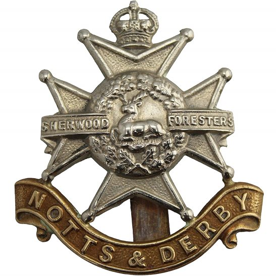Notts & Derby WW1 Sherwood Foresters (Notts and Derby) Regiment Cap Badge