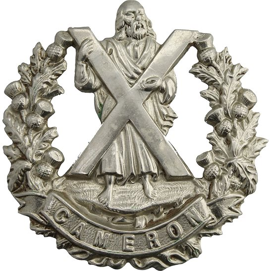 Cameron Highlanders WW1 Queens Own Cameron Highlanders Regiment Cap Badge