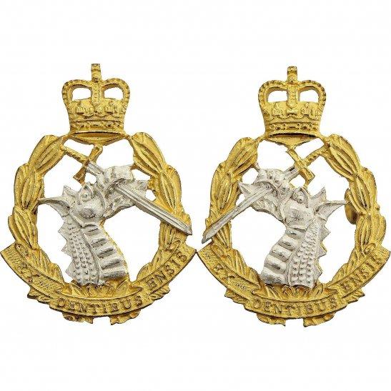 Army Dental Corps Royal Army Dental Corps RADC Dentist GILT Collar Badge PAIR - Queens Crown