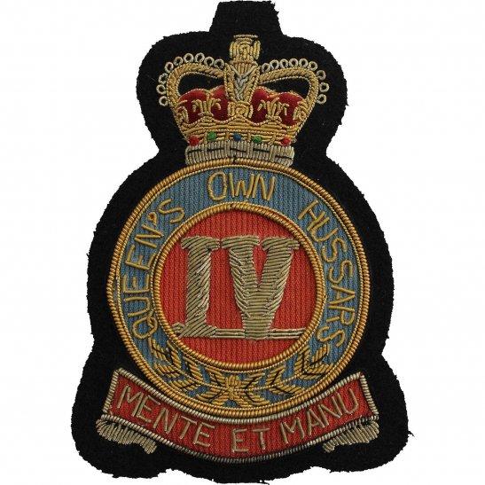 4th Hussars 4th Queens Own Hussars Regiment Cloth Wire BULLION Veterans Blazer Badge