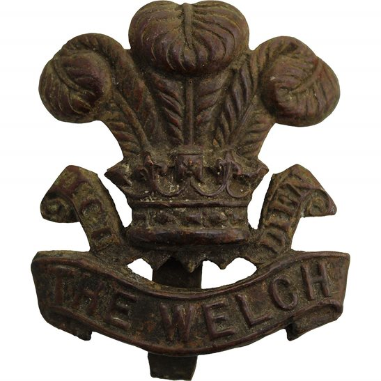 Welsh Regiment UK Dug Detecting Find - The Welch Regiment Relic Welsh Cap Badge
