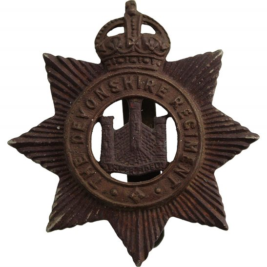Devonshire Regiment UK Dug Detecting Find - WW1 Devonshire Regiment Relic Cap Badge
