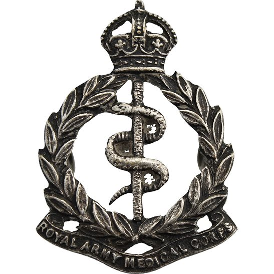 Royal Army Medical Corps RAMC Royal Army Medical Corps RAMC Officers / Volunteers WHITE METAL Collar Badge