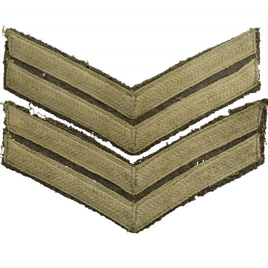 WW1 British Army Corporal Cloth Chevron Insignia Rank Stripes PAIR