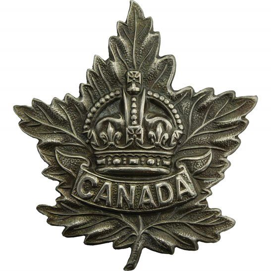 WW2 Canadian Army WW2 Canadian Army Division / Canada Corps CEF WHITE METAL Cap Badge