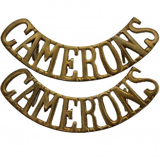Cameron Highlanders WW2 Queens Own Cameron Highlanders Regiment Shoulder Title PAIR