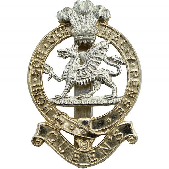 Queens Regiment Queen's Staybrite Anodised Cap Badge - Staybright