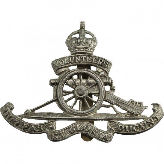 Royal Artillery Royal Artillery White Metal VOLUNTEERS Cap Badge - BP & CO LD B'HAM Makers Mark