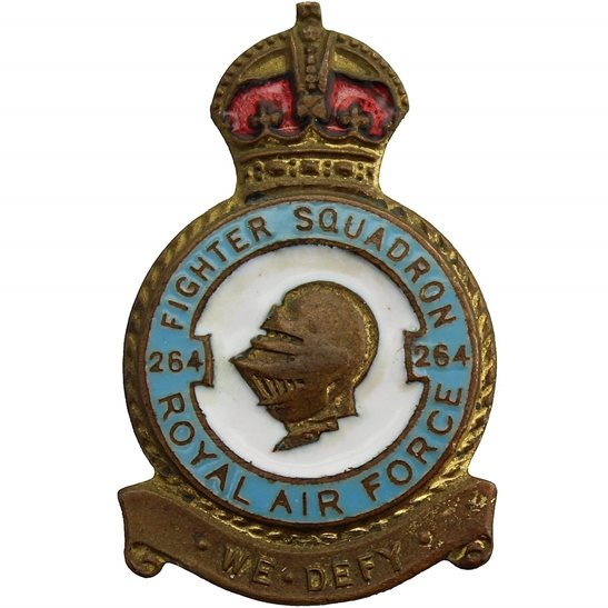 RAF Squadrons 264 Fighter Squadron Royal Air Force RAF Lapel Badge - H W MILLER LTD Makers Mark
