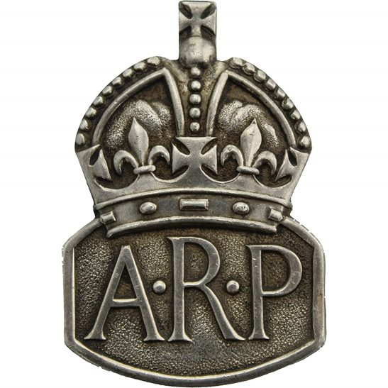 Air Raid Precautions ARP WW2 ARP Warden (Air Raid Precautions) HALLMARKED Silver Lapel Badge - MENS