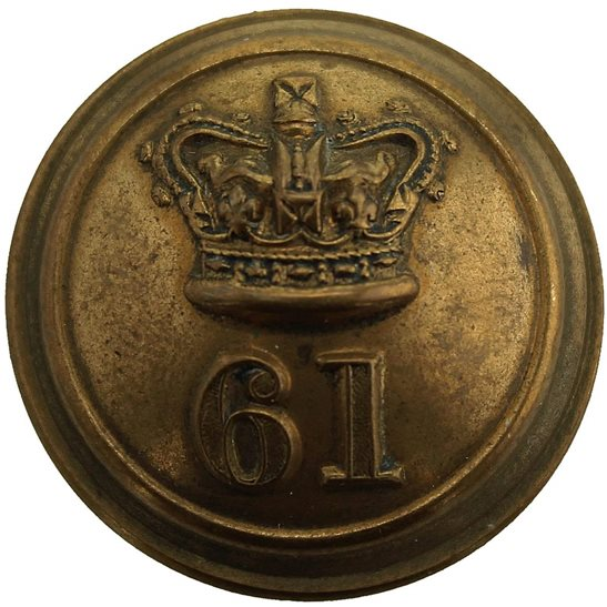 Gloucestershire Regiment VICTORIAN 61st Regiment of Foot (South Gloucestershire) 1855-1881 OFFICERS Tunic Button - 25mm