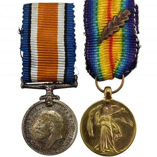 WW1 British War & Victory Medal Mentioned in Dispatches MINIATURE Dress Medals Pair