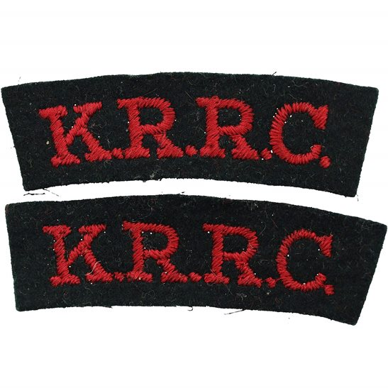 Kings Royal Rifle Corps KRRC Kings Royal Rifle Corps KRRC Cloth Shoulder Title Badge Flash PAIR