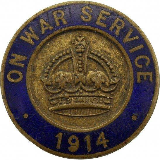 WW1 On War Service 1914 Enamel Lapel Badge - DG COLLINS LONDON