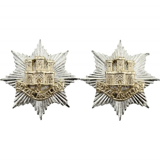 Royal Anglian Royal Anglian Regiment Staybrite Anodised Collar Badge PAIR - Staybright