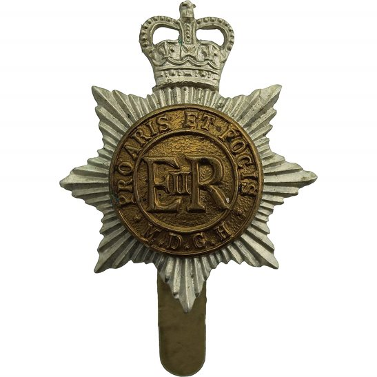 Middlesex Imperial Yeomanry Queens Crown Middlesex Yeomanry Regiment Cap Badge - J.R.GAUNT LONDON Makers Mark