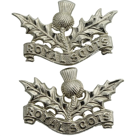 Royal Scots Royal Scots (Scottish) Regiment CHROME Collar Badge PAIR