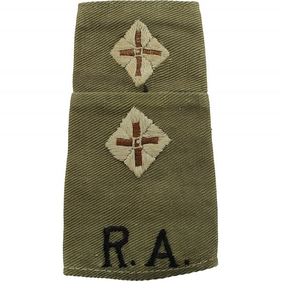 Royal Artillery WW2 Royal Artillery Officers CLOTH Slip-On Epaulette Insignia Pips - Rank of Lieutenant