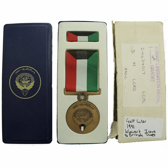 Gulf War 1991 Liberation of Kuwait Medal Kuwaiti Issue to British Troops