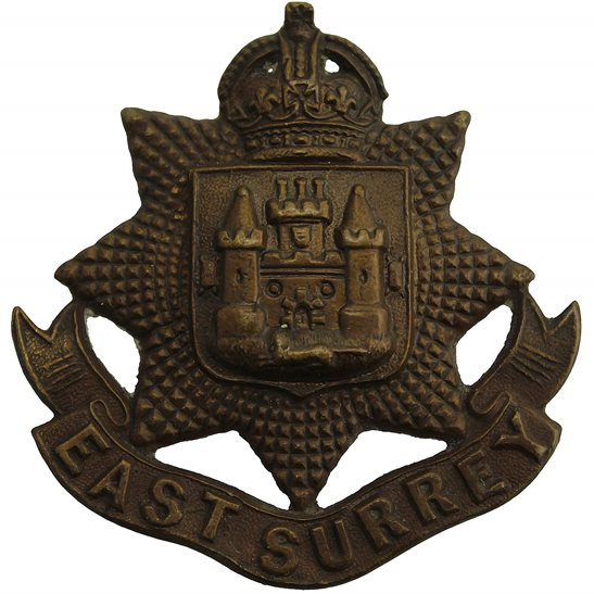 East Surrey East Surrey Regiment BRONZE Officers Collar Badge