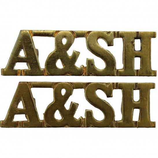 Argyll and Sutherland Highlanders Argyll & Sutherland Highlanders Regiment Scottish Shoulder Title PAIR