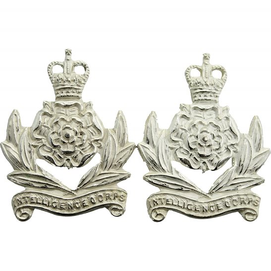 Intelligence Corps Intelligence Corps OFFICERS Collar Badge PAIR LB&B Makers Mark - Queens Crown