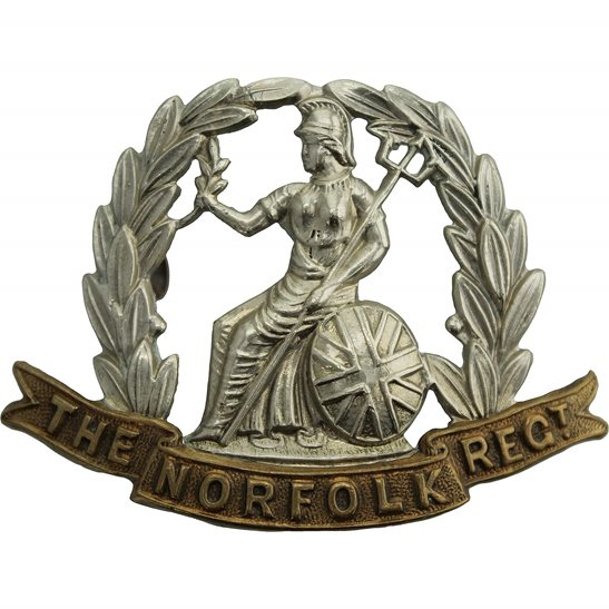 Norfolk Regiment EDWARDIAN / VICTORIAN Norfolk Regiment Cap Badge - LUGS VERSION