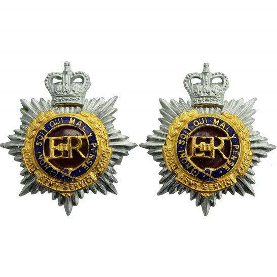 Royal Army Service Corps RASC Royal Army Service Corps RASC Bi-Metal OFFICERS Collar Badge PAIR - Queens Crown