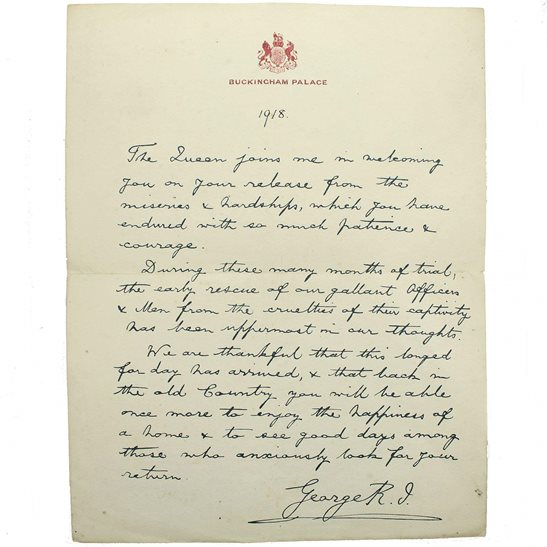 WW1 Released Prisioners of War POWs Buckingham Palace Letter