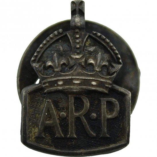 Air Raid Precautions ARP WW2 ARP Warden (Air Raid Precautions) HALLMARKED Silver SMALL Lapel Badge